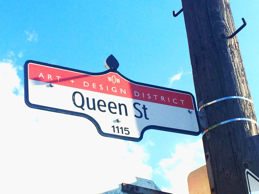 Toronto Street Sign: Art + Design District Queen St