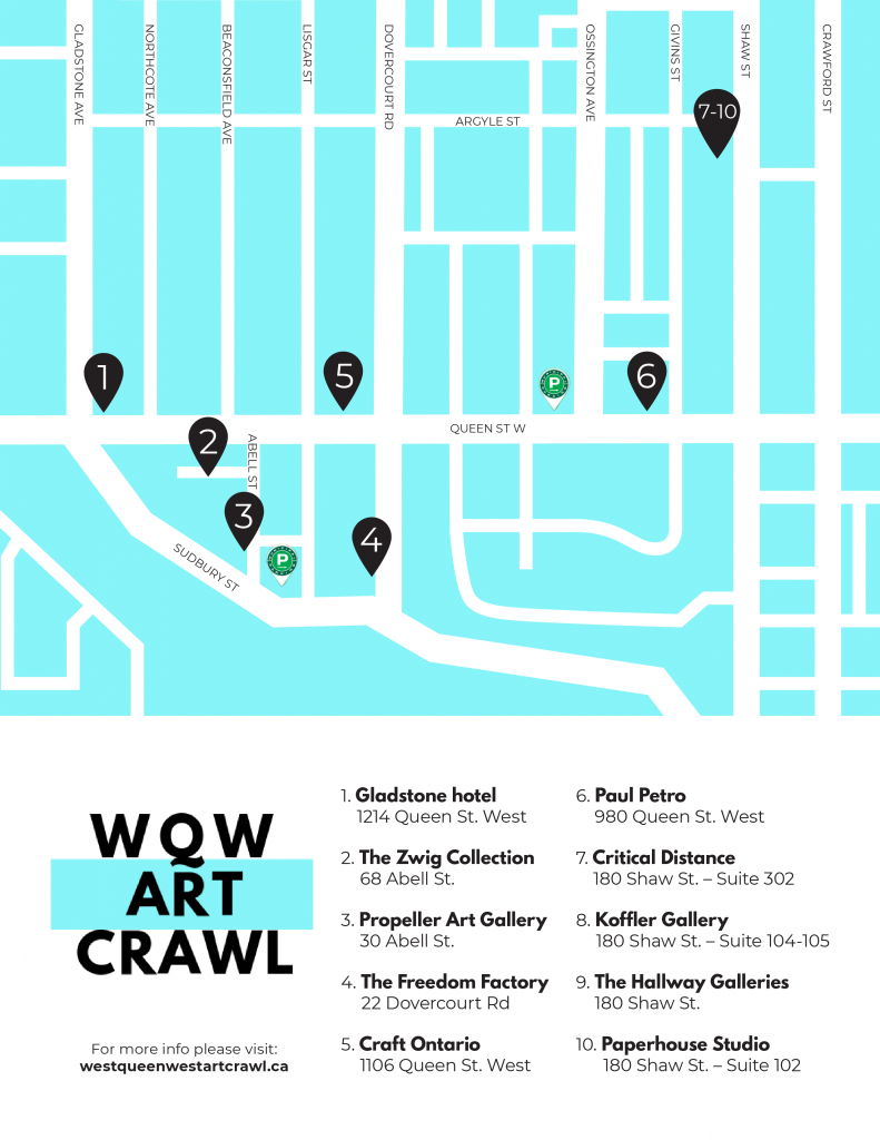 Map of Queen Street West Toronto - 10 art galleries WQW Art Crawl