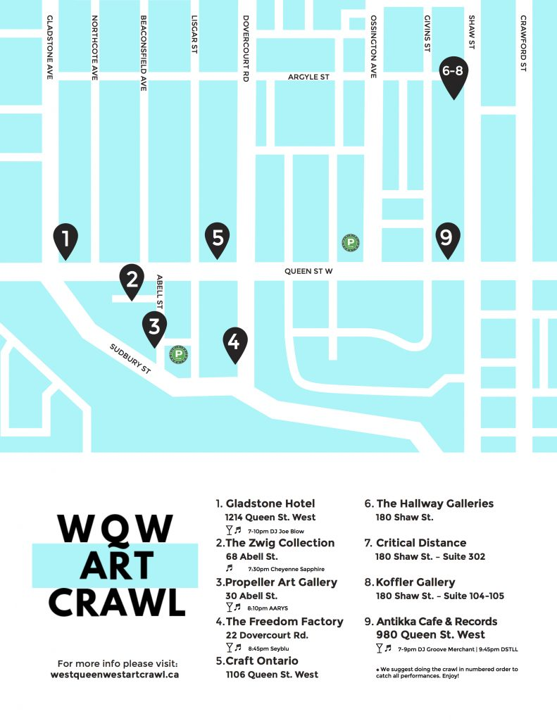 Map for Oct 10 art crawl